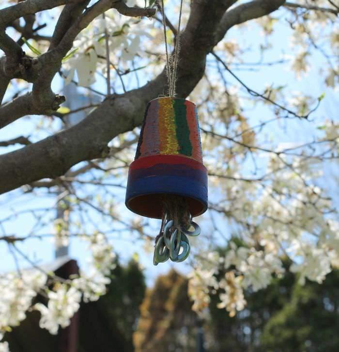 Terra Cotta Potter Wind Chime Tutorial - Hanging