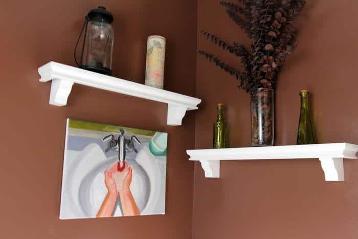 powder room shelves