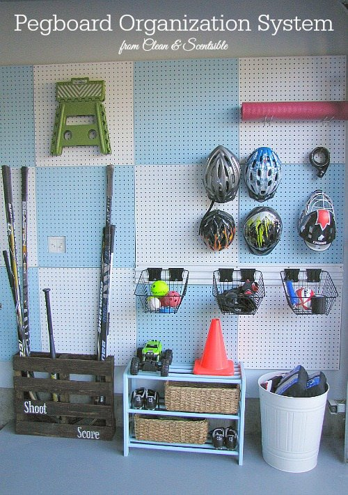 Organizing Outside Toys - Peg Board Sports Storage