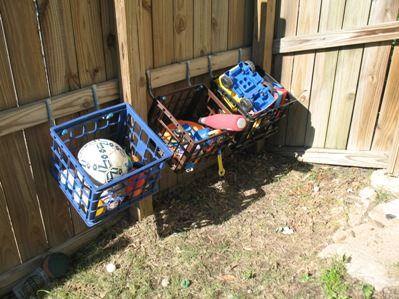 Organizing Outside Toys - Milk Crates as Storage
