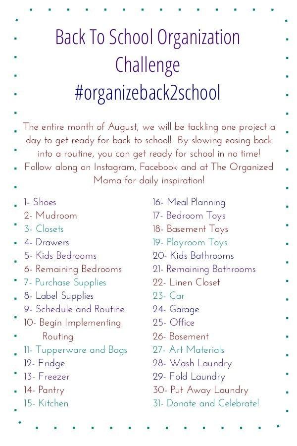 August Back To School Organization Challenge