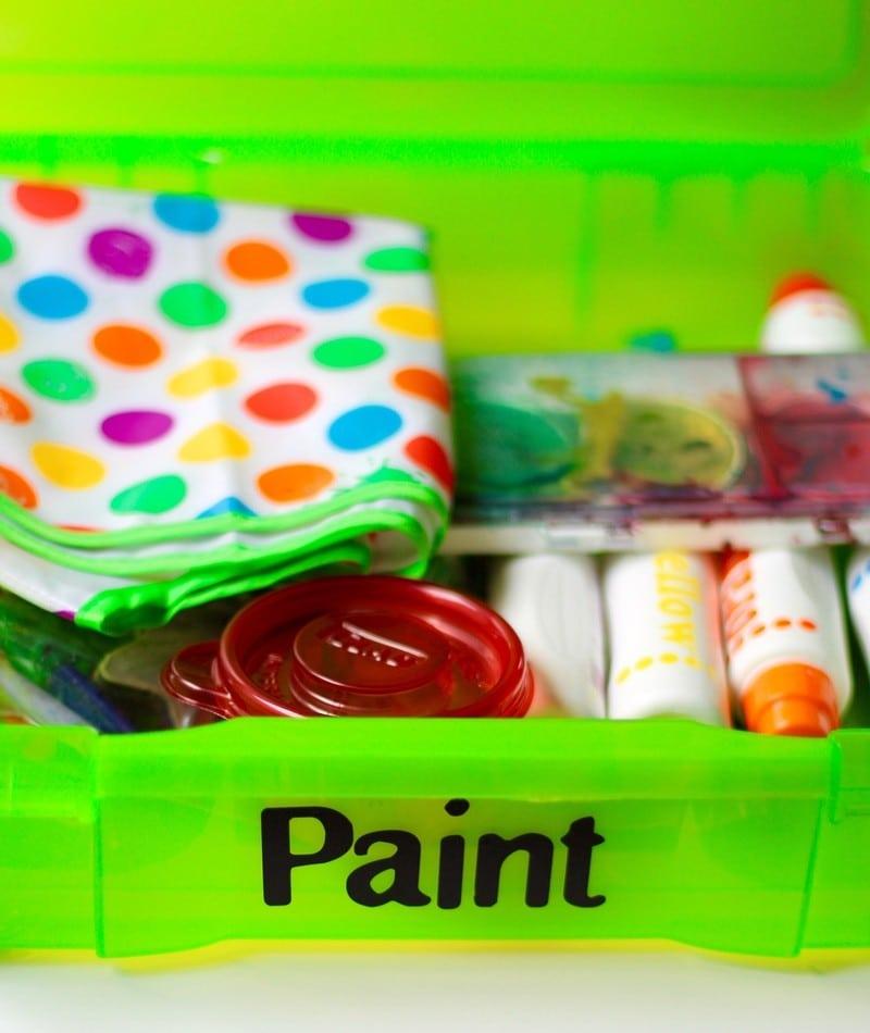 Organizing Kids Crafts - Paint Storage