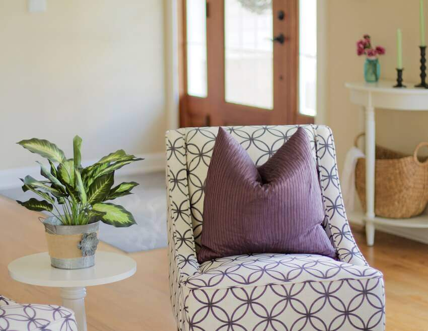 Entryway chair and pillow
