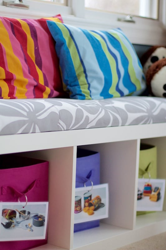 Bench and Storage Play Room