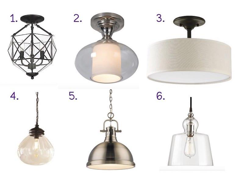 Six hallway light options to represent finding the perfect hallway light fixture #hallwaylight