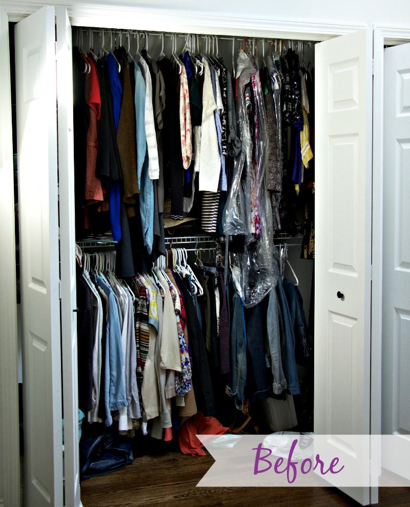 Before Closet Organization with messy closet