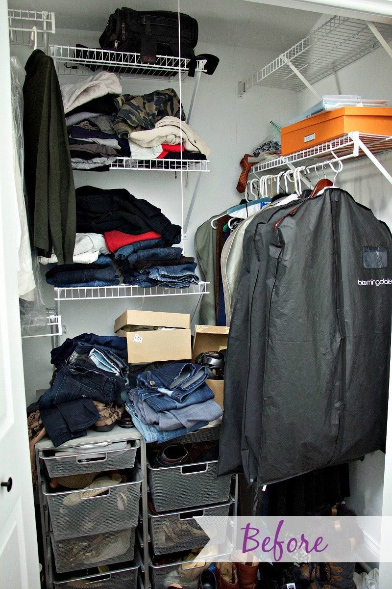 Closet Organization Before messy drawers, shoe boxes, and piles on floor