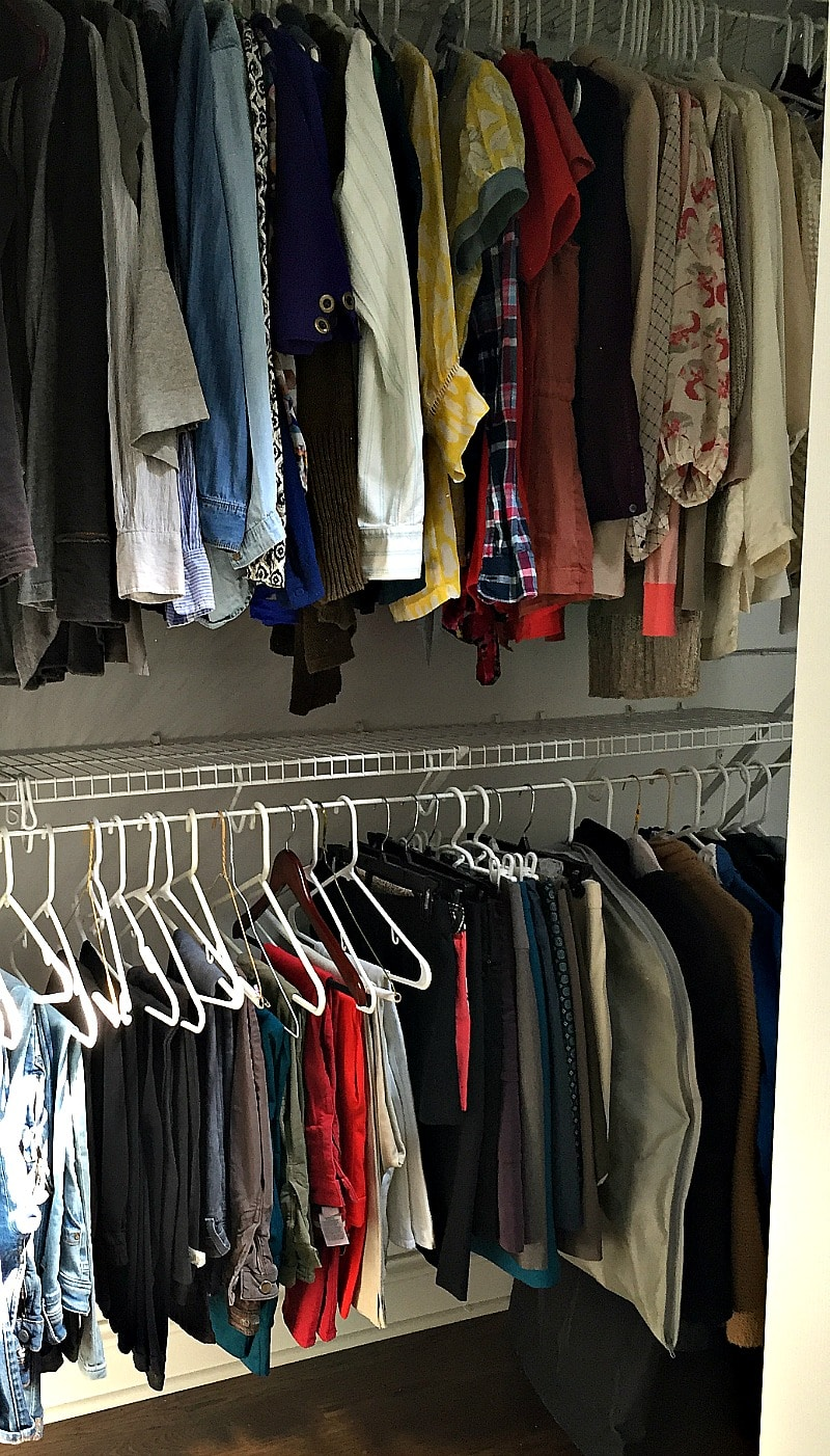 Closet Organization: close up of pants and skirts in closet without spending any money