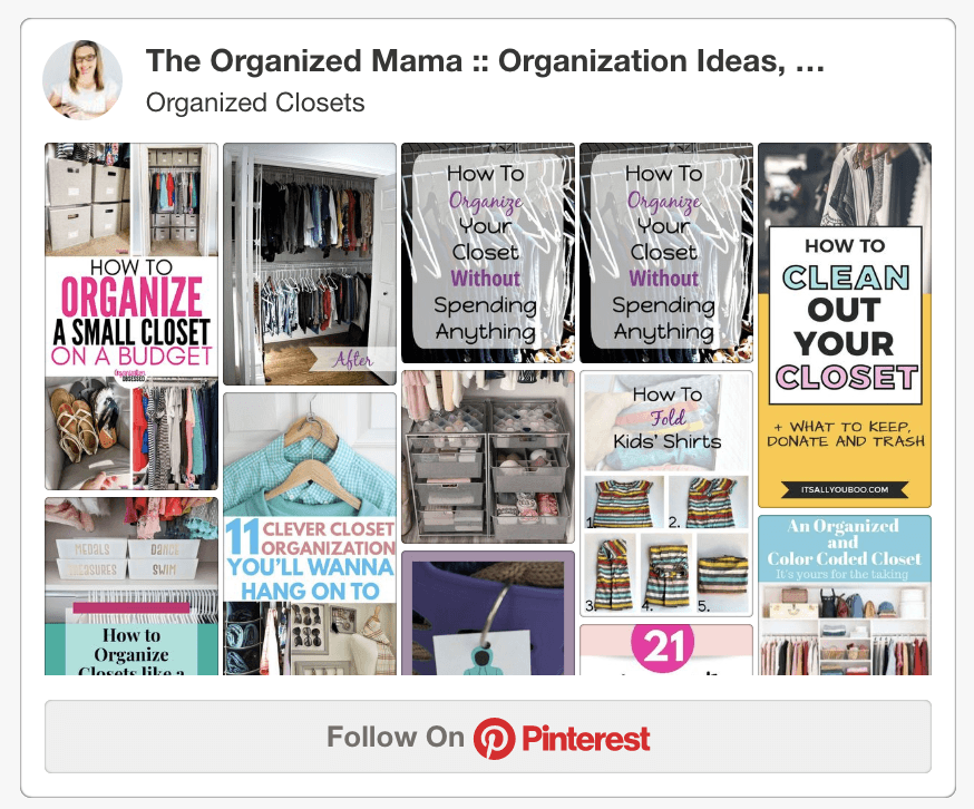 Pinterest board of closets for The Organized Mama