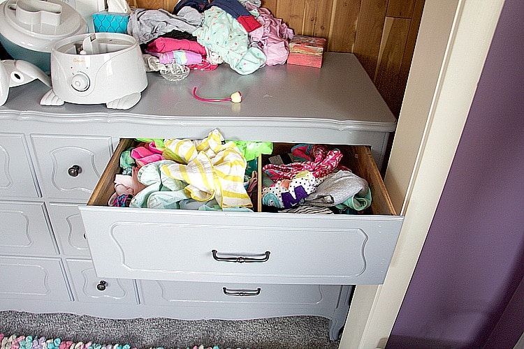 Before Drawers Kids overflowing with clothing piled on top of dresser and in drawers