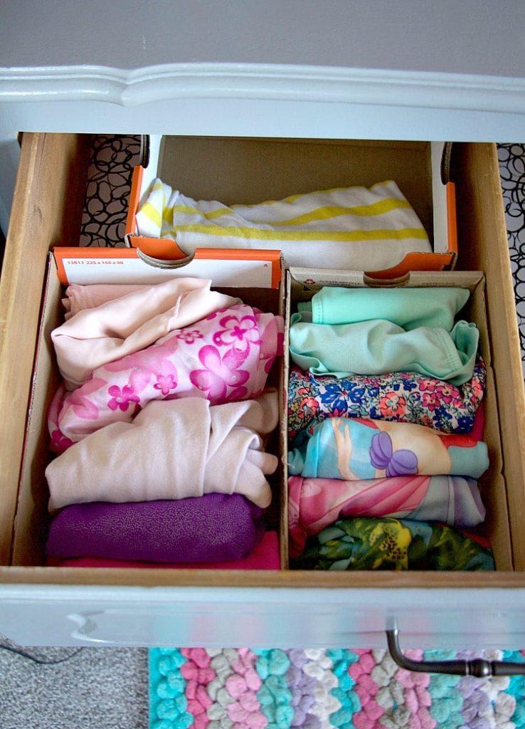 Seasonal Clothes Drawer Storage in shoeboxes like konmai method