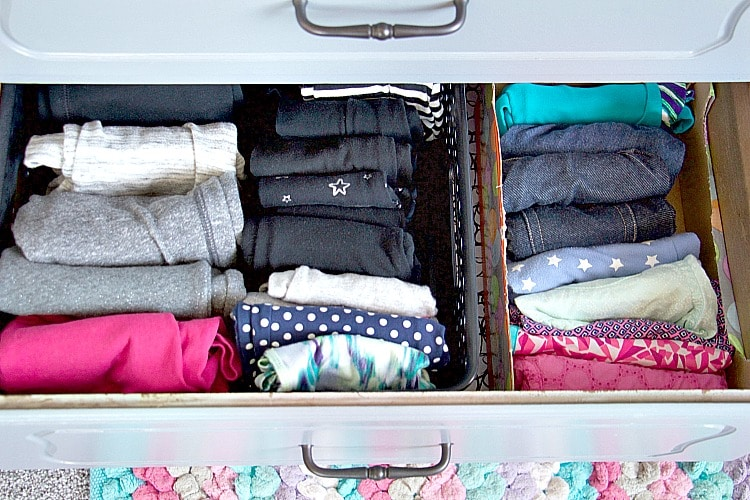 kids pant drawer organizing file folded pants in boxes and bins in drawer to keep things organized