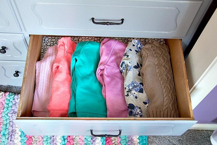 sweatshirt drawer organized