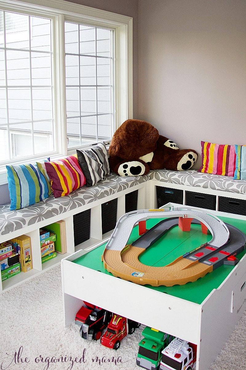 toy organizier IKEA bench