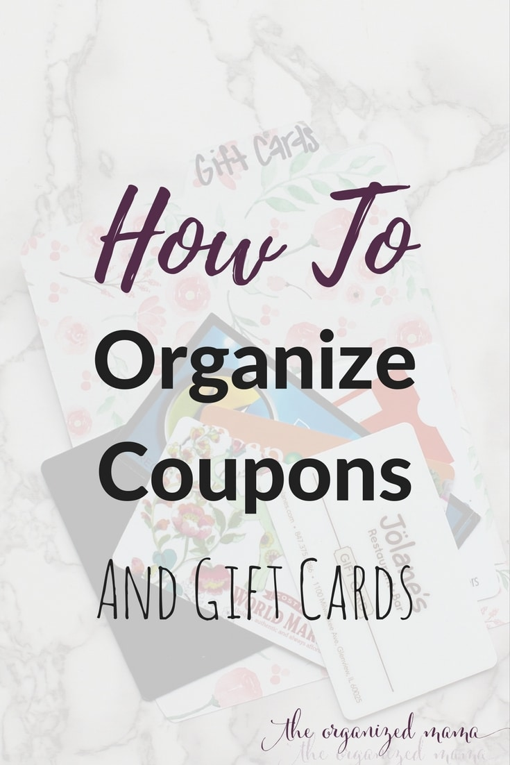 Need ideas for how to organize the coupon drawer? Professional organizer shares her tips for how to organize coupons and gift cards! #organizing #organized #coupons