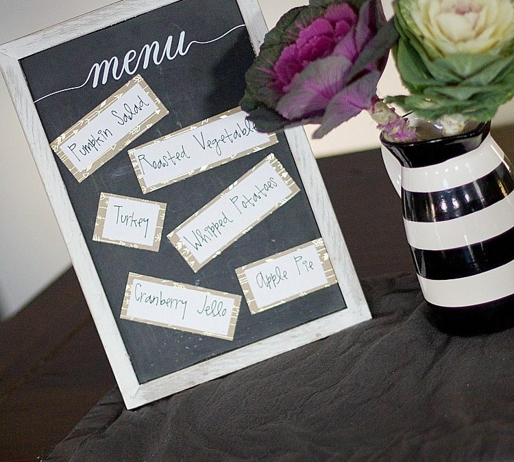 Add character to your Thanksgiving table with these inexpensive Thanksgiving decor ideas! Use repositionable stickers for a handwritten menu and more! #thanksgiving #decor
