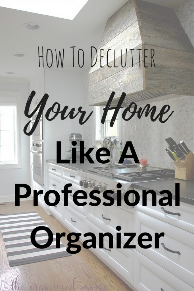 When it comes to decluttering your home, it can seem rather overwhelming! But professional organizer, The Organized Mama, shares her tips to make it less stressful to declutter your stuff! #declutter #organize