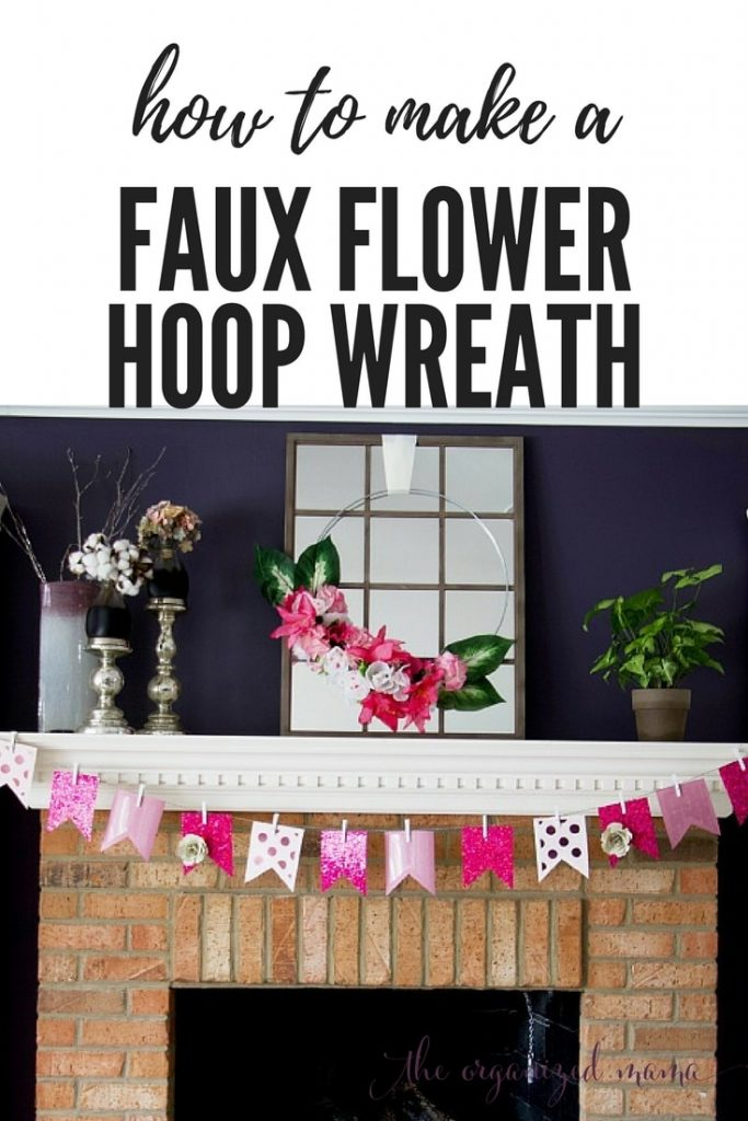 Using items found from the Dollar Store, you can create a faux flower hoop wreath in this easy-to-follow tutorial with lots of pictures to help you create this spring trend! #fauxflowers #dollarstore #hoopwreath