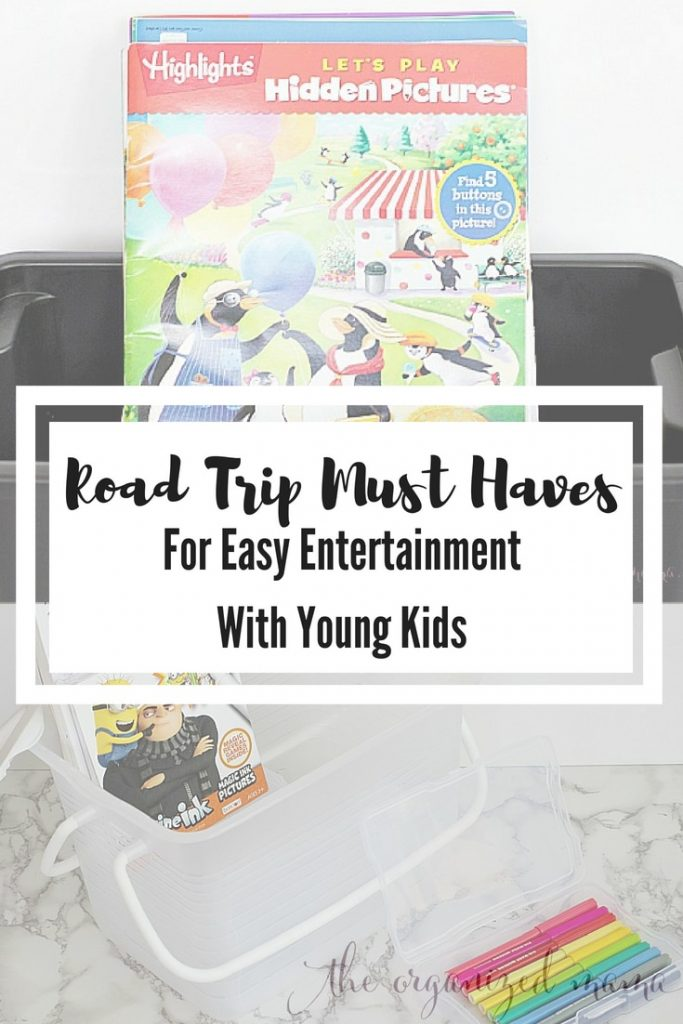 When traveling with young kids, you have to pack tons of entertainment to keep them occupied! Having taken countless road trips with my young children, I am sharing my road trip must haves for keeping the car organized and the littles entertained! #roadtrip
