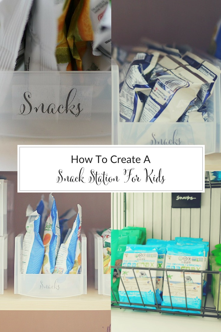 With summer in full swing, my kids need food constantly. So I created a snack station for kids that was both functional and practical! #snacks #organized