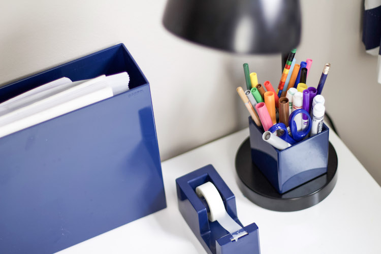 Learn how to set up a creation station with art supplies, paper, and tape that make it easy for kids to use and help develop fine motor skills. #organized #kids #art