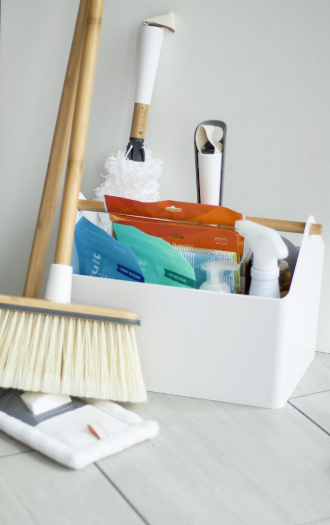 Learn tricks for cleaning your home daily with a free cleaning checklist. Favorite products are listed, along with ways to tackle some of those daunting tasks. #cleaning #cleaningcaddie #cleanhome
