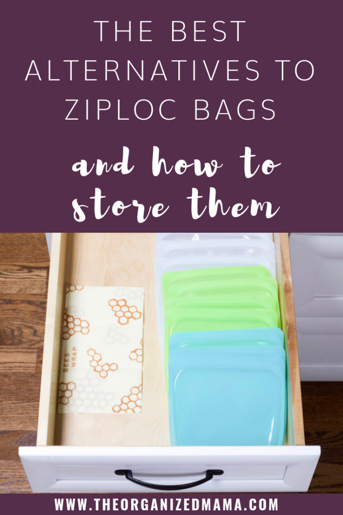 Text overlay saying the best alternatives to ziploc bags and how to store them with image of shallow kitchen drawer and reusable bags are lined on the right while bee wax is laying on the right #sustainable