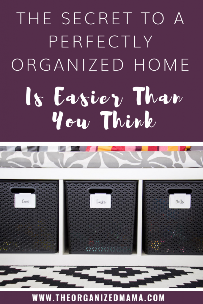 Learn the secrets to a perfectly organized home by using printable sticker labels adhered to white bin clips located on black bins under a bench. #printable #labels #organized