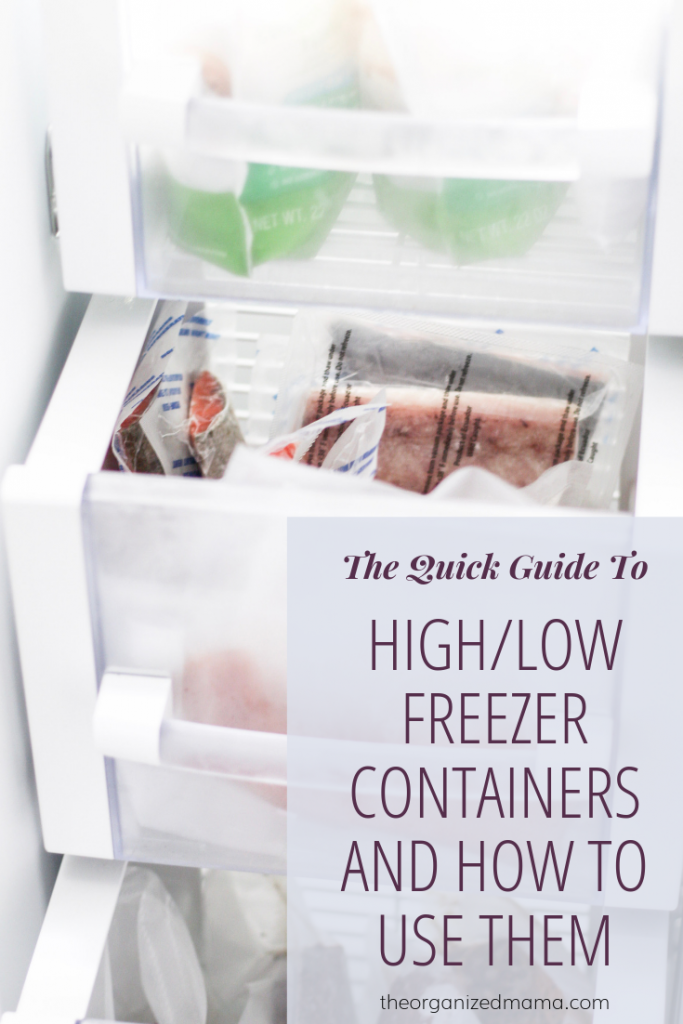 a round up of high and low priced freezer containers overlay on a freezer drawer broken into categories with meats in one open drawer and other with bags of frozen veggies #freezer