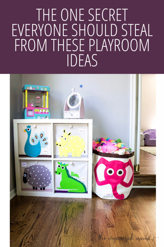 playroom ideas overlay over playroom with cubes and animals on each cube and large canvas bin with stuffed animals inside #playroom