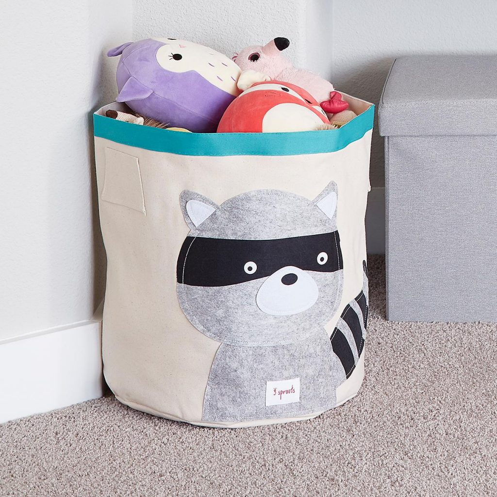 racoon canvas bin holding stuffed animals in playroom #3sprouts