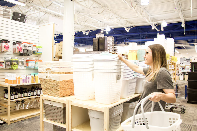 The Organized Mama shopping at The Container Store for Tote for towel storage ideas