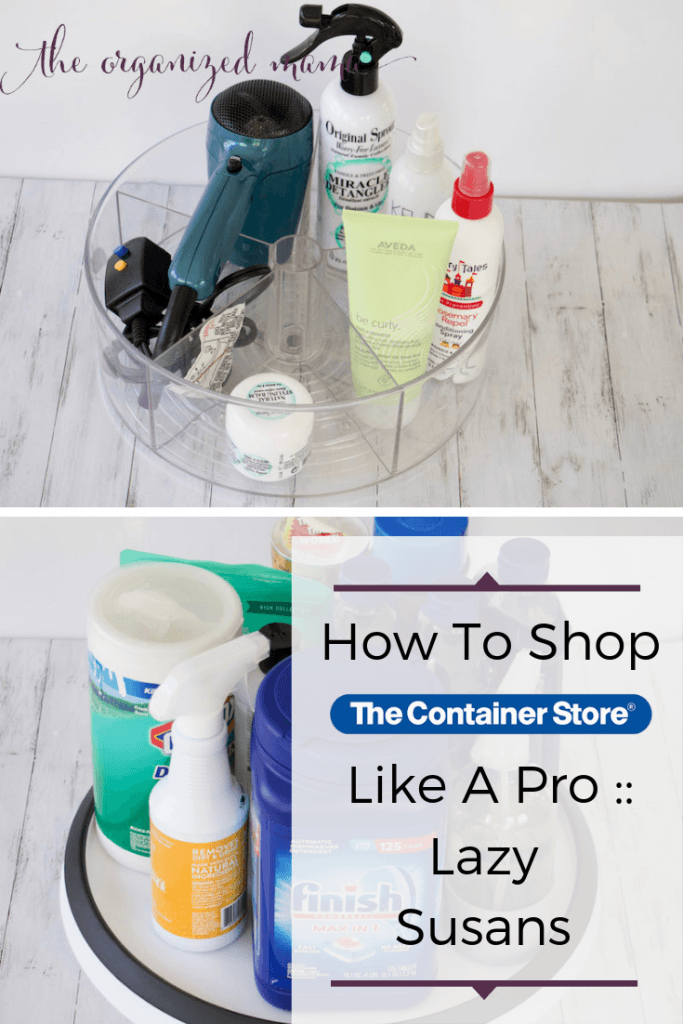 overlay how to shop the container store like a pro with turntables for bathroom and undersink #organized #shoplikeapro