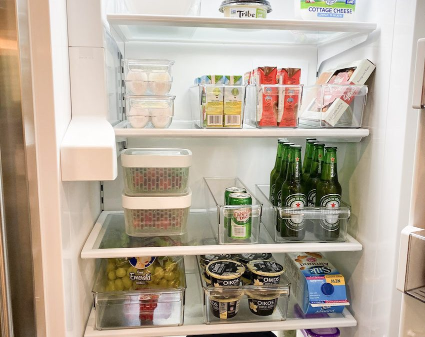 full fridge organization with the container store