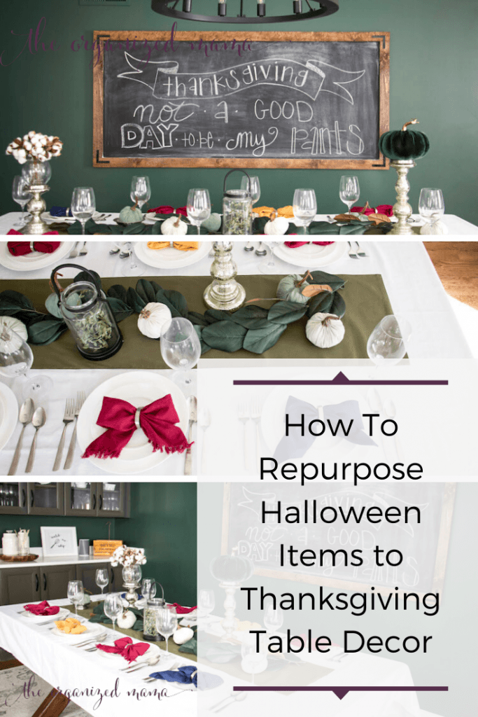 how to repurpose halloween items to thanksgiving table decor overlay on top of thanksgiving table with green, blue and pink pumpkins