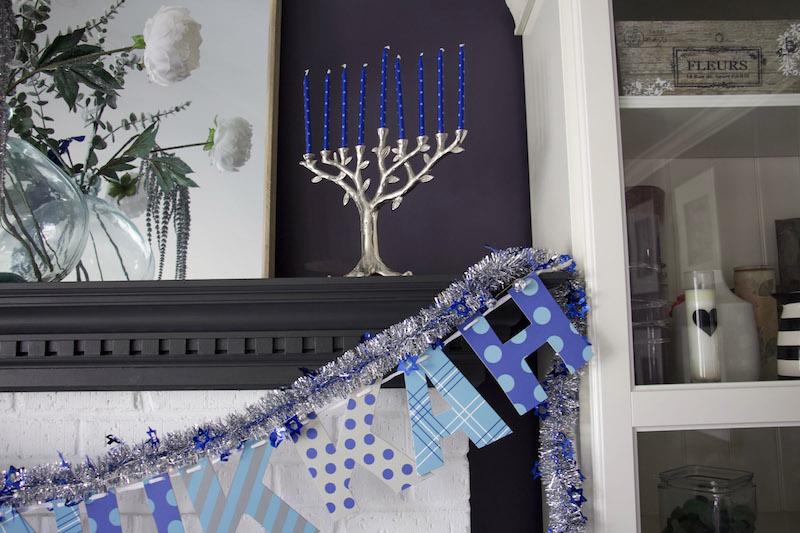 menorah on mantel for hanukkah decor