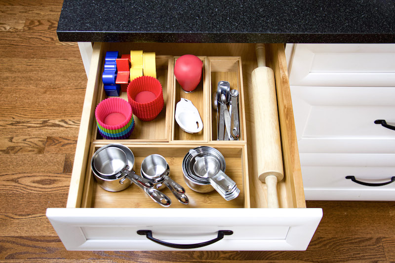 baking drawer organized with bamboo boxes and rolling pin #baking #organizing