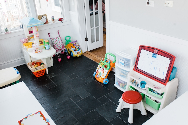 tidy playroom with everything put away after a 15 minute tidy