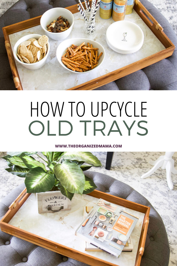 How to upcycle wooden trays overlay on top of wooden trays with EasyLiner Marble
